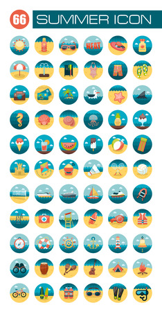 Summer flat icon set Illustration