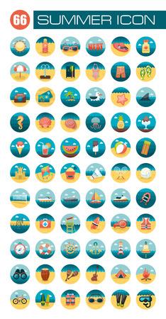 Summer flat icon set Иллюстрация