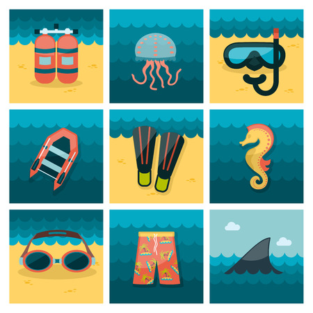 Summer flat icons set, vector illustration eps 10
