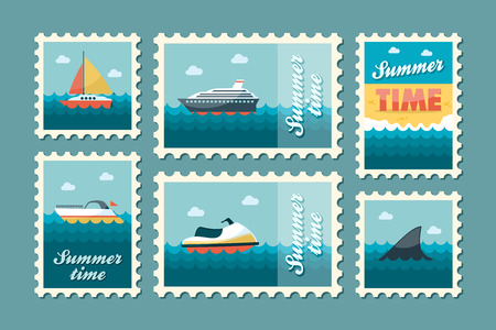sail fin: Summertime stamp set flat, vector eps 10