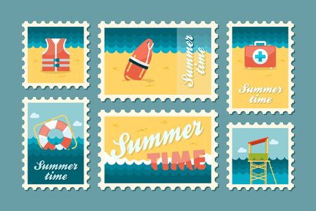 summertime: Summertime stamp set flat, vector eps 10