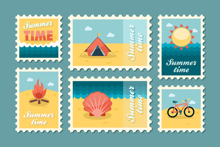 Summertime stamp set flat, vector eps 10