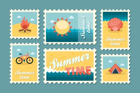 wave tourist: Summertime stamp set flat, vector eps 10