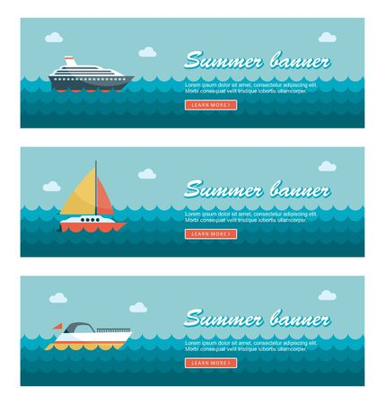 Travel and vacation vector banners Ilustração