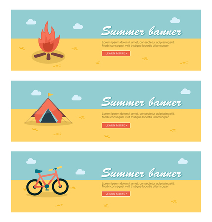 summer season: Travel and vacation vector banners Illustration