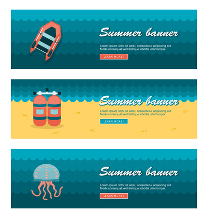 sky dive: Travel and vacation vector banners Illustration