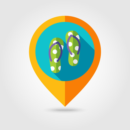 flip flops: Flip Flops flat mapping pin icon with long shadow Illustration