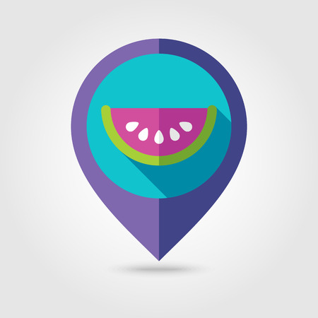 watermelon slice: Watermelon Slice flat mapping pin icon with long shadow Illustration