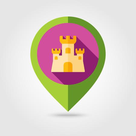 castle sand: Castillo de arena icono pin mapeo plana con larga sombra