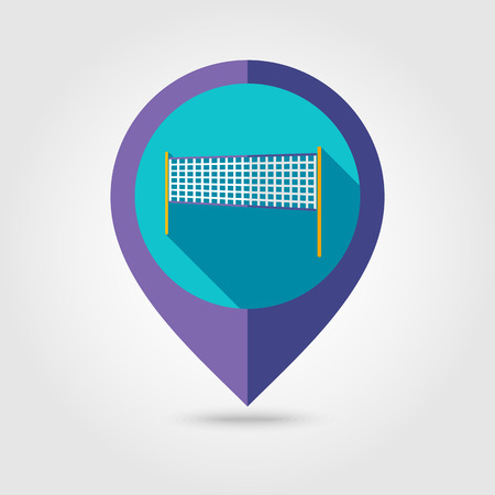 volleyball net: Volleyball net beach sport flat mapping pin icon with long shadow Illustration