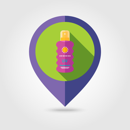 sun cream: Sun Cream in Spray flat mapping pin icon with long shadow Illustration