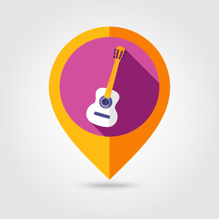 strumming: Guitar Beach flat mapping pin icon with long shadow