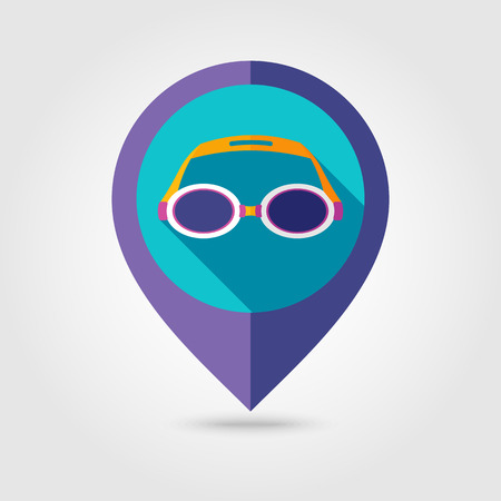 swimming goggles: Swimming Goggles flat mapping pin icon with long shadow