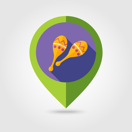 beanbag: Maracas flat mapping pin icon with long shadow Illustration