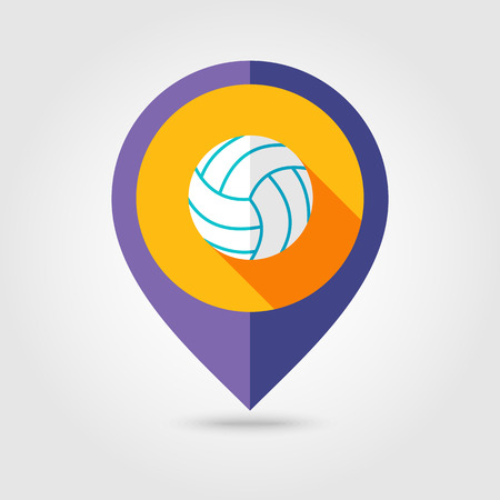 mapping: Volleyball flat mapping pin icon with long shadow