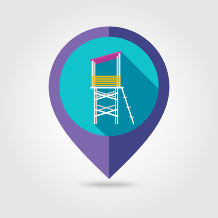 observations: Lifeguard tower flat mapping pin icon with long shadow