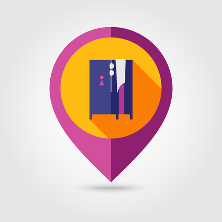 cloakroom: Cloakroom on the beach flat mapping pin icon with long shadow