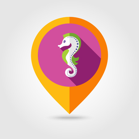 Sea Horse flat mapping pin icon with long shadow