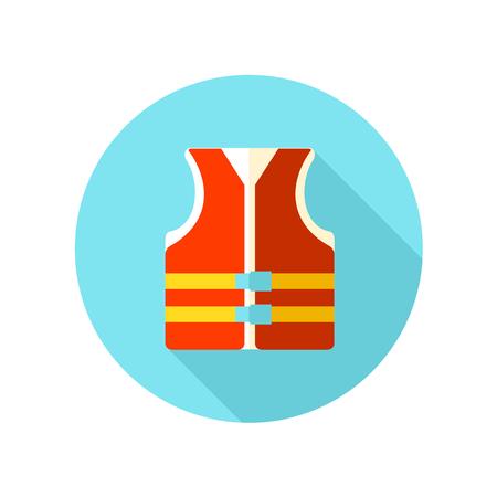life jacket: Life jacket flat icon with long shadow, eps 10 Illustration