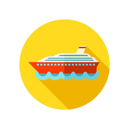 cruiser: Cruise transatlantic liner flat icon with long shadow, eps 10 Illustration