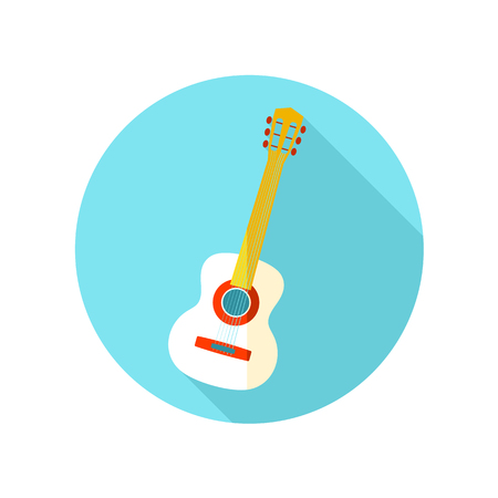 strumming: Guitar Beach flat icon with long shadow, eps 10