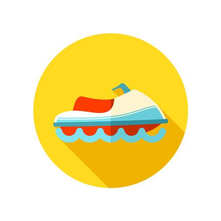 moto acuatica: Jet Ski icono plana con larga sombra, eps 10 Vectores