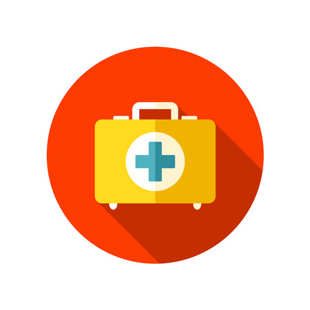 primeros auxilios: Icono plana de primeros auxilios con una larga sombra, eps 10 Vectores