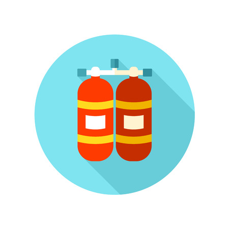 compressed gas: Oxygen tank flat icon with long shadow, eps 10