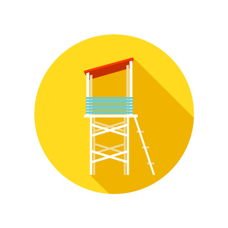 lifeguard: Lifeguard tower flat icon with long shadow, eps 10 Illustration