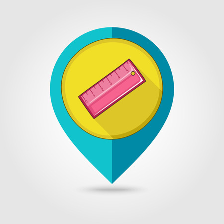 straightedge: Straightedge flat mapping pin icon, vector illustration  Illustration