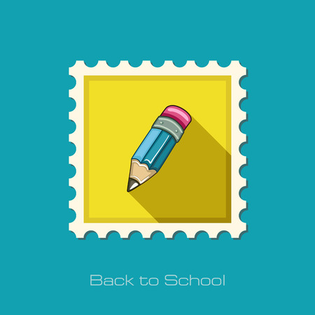 sharpen: Pencil flat stamp, vector illustration eps 10 Illustration