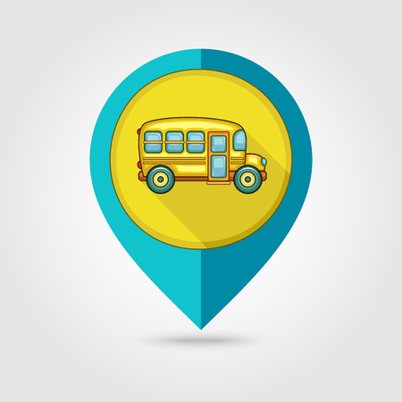 schoolbus: School Bus flat mapping pin icon, vector illustration eps 10