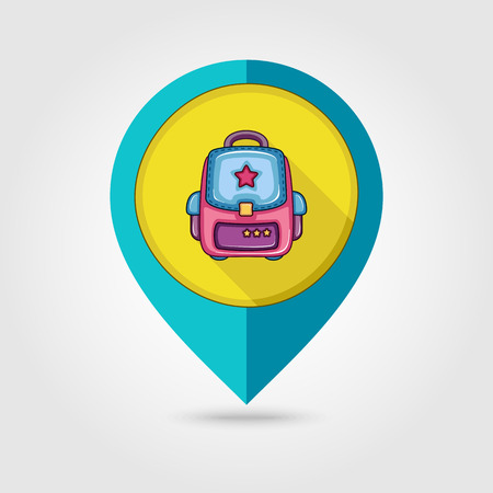 zaino scuola: School Backpack flat mapping pin icon, vector illustration eps 10