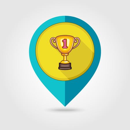 winning location: Winner Cup flat mapping pin icon, vector illustration eps 10