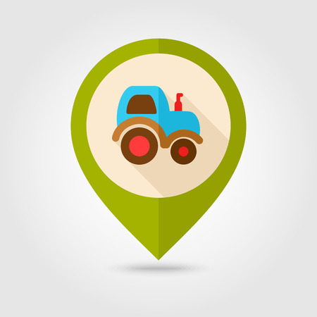 agronomy: Tractor flat mapping pin icon with long shadow, eps 10