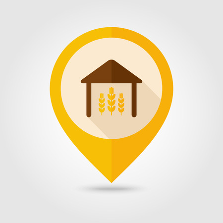 granary: Barn flat mapping pin icon with long shadow, eps 10