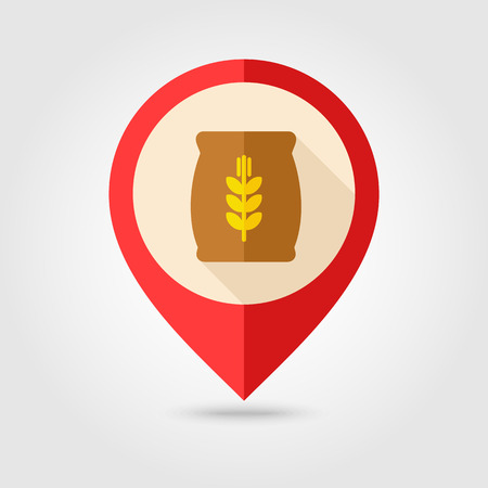burlap sack: Sack of grain flat mapping pin icon with long shadow, eps 10