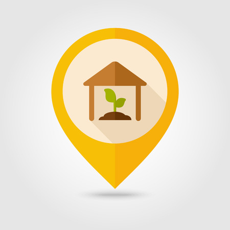 granary: Greenhouse flat mapping pin icon with long shadow, eps 10