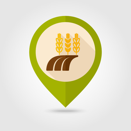 Ears of Wheat, Barley or Rye on field flat mapping pin icon with long shadow, eps 10 Illustration