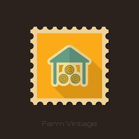 shed: Shed retro flat stamp with long shadow Illustration