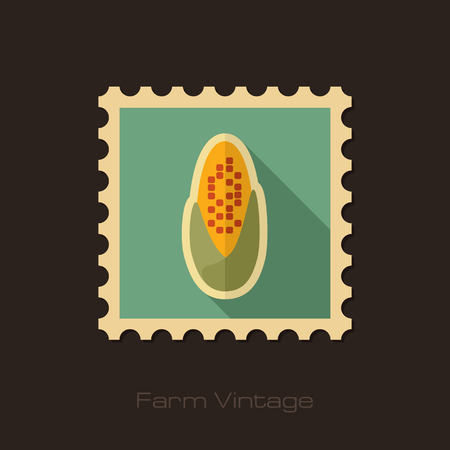 corncob: Corncob retro flat stamp with long shadow Illustration