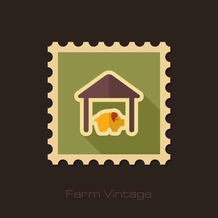 pigsty: Pigsty retro flat stamp with long shadow Illustration