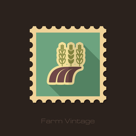 barley field: Ears of Wheat, Barley or Rye on field retro flat stamp with long shadow Illustration