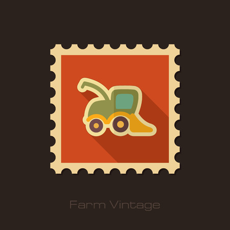 harvester: Combine harvester retro flat stamp with long shadow