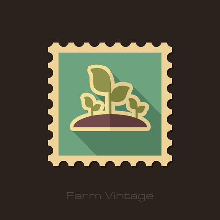 sprout: Plant sprout retro flat stamp with long shadow, eps 10 Illustration