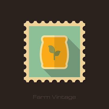 potassium: Fertilizer retro flat stamp with long shadow Present By Green Nitrogen, Potassium, Phosphorus and Leaf Sack, eps 10 Illustration