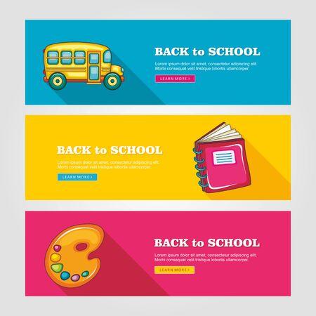 autobus escolar: Escuela planas banderas del vector, ejemplo del vector EPS 10 Vectores