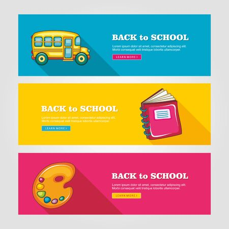 colored school: School flat vector banners, vector illustration eps 10
