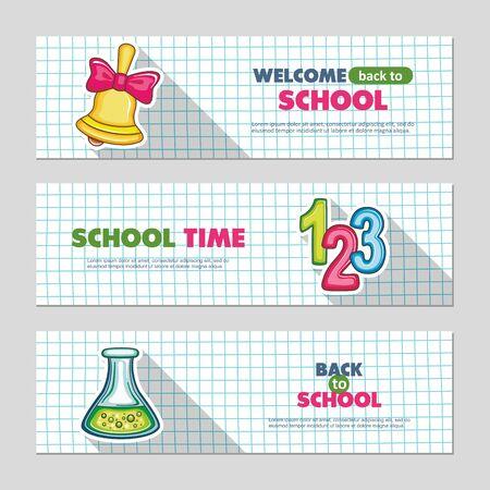 School flat vector banners, vector illustration