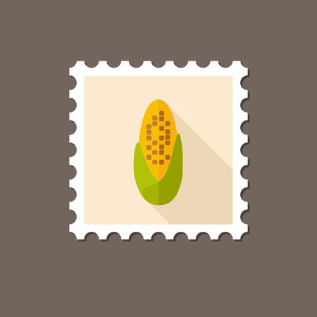 corncob: Corncob flat stamp with long shadow, eps 10 Illustration